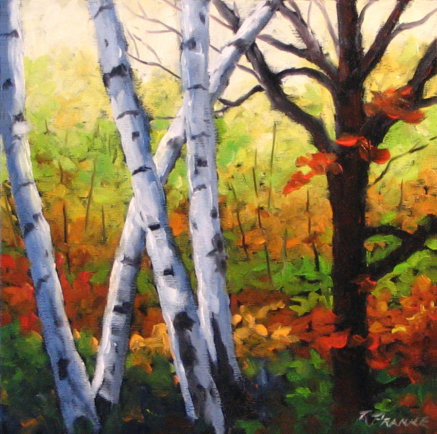 Painting Painting - Birches 05 by Richard T Pranke