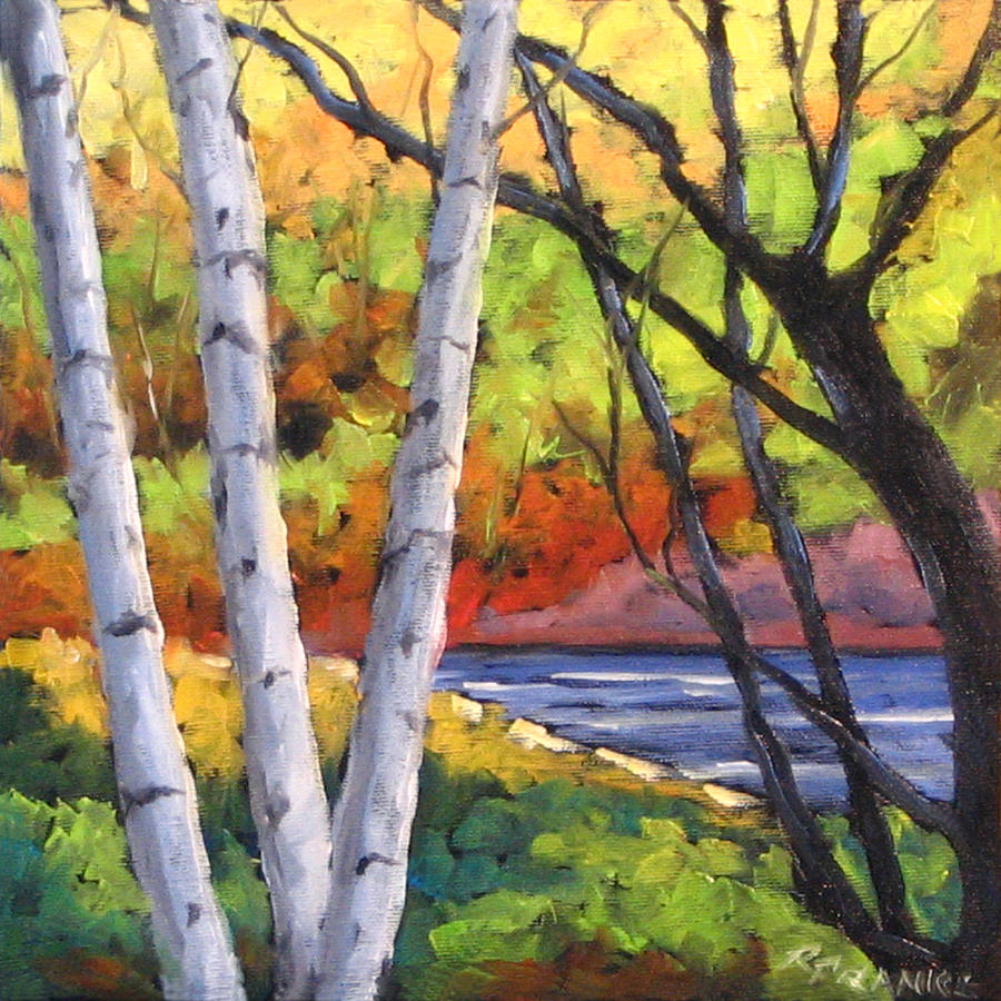 Painting Painting - Birches 06 by Richard T Pranke
