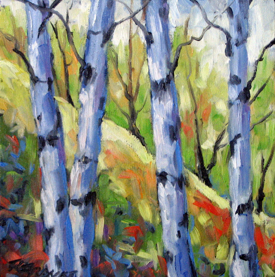 Painting Painting - Birches 09 by Richard T Pranke