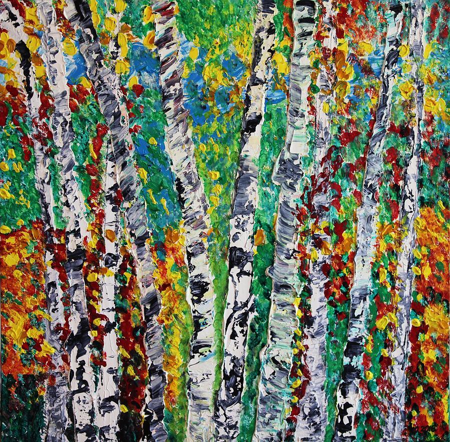 Birch Painting - Birches And Scrub by Valerie Ornstein