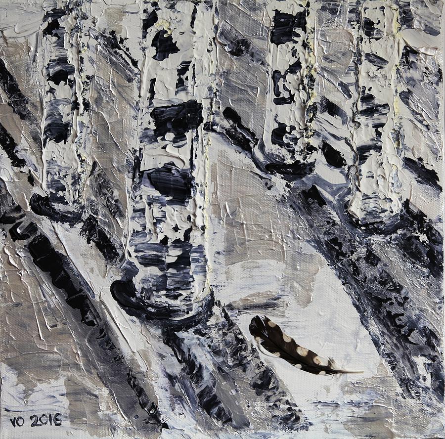 Birch Painting - Birches And Snowy Shadows by Valerie Ornstein