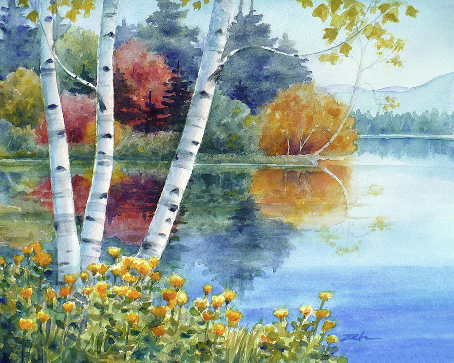 Birches at White Lake in Autumn by Janet Zeh