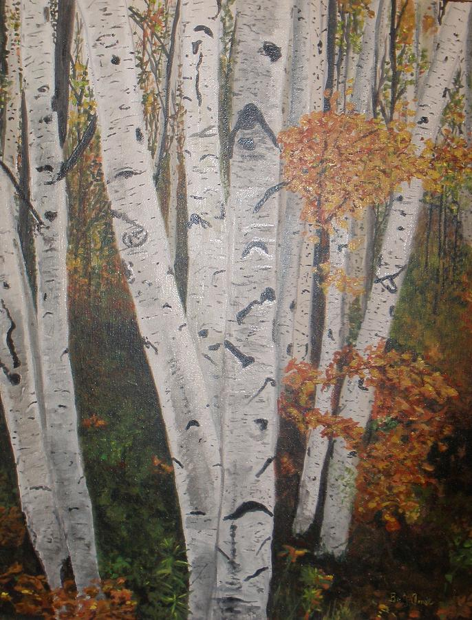 Trees Painting - Birches In Fall by Betty-Anne McDonald