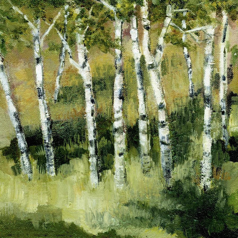Trees Painting - Birches On A Hill by Michelle Calkins
