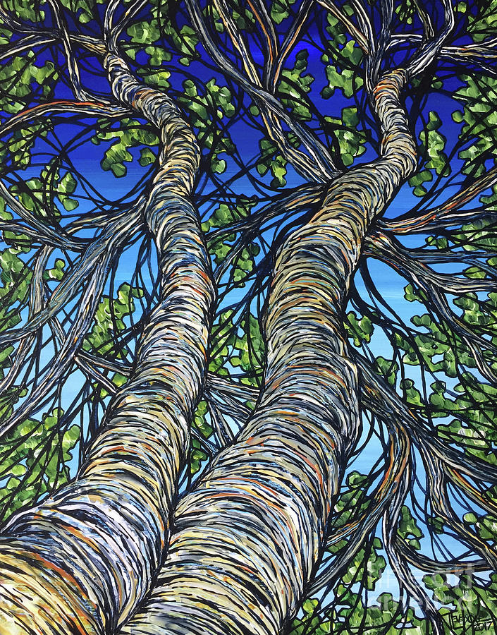 Birches on Blue by Tracy Levesque