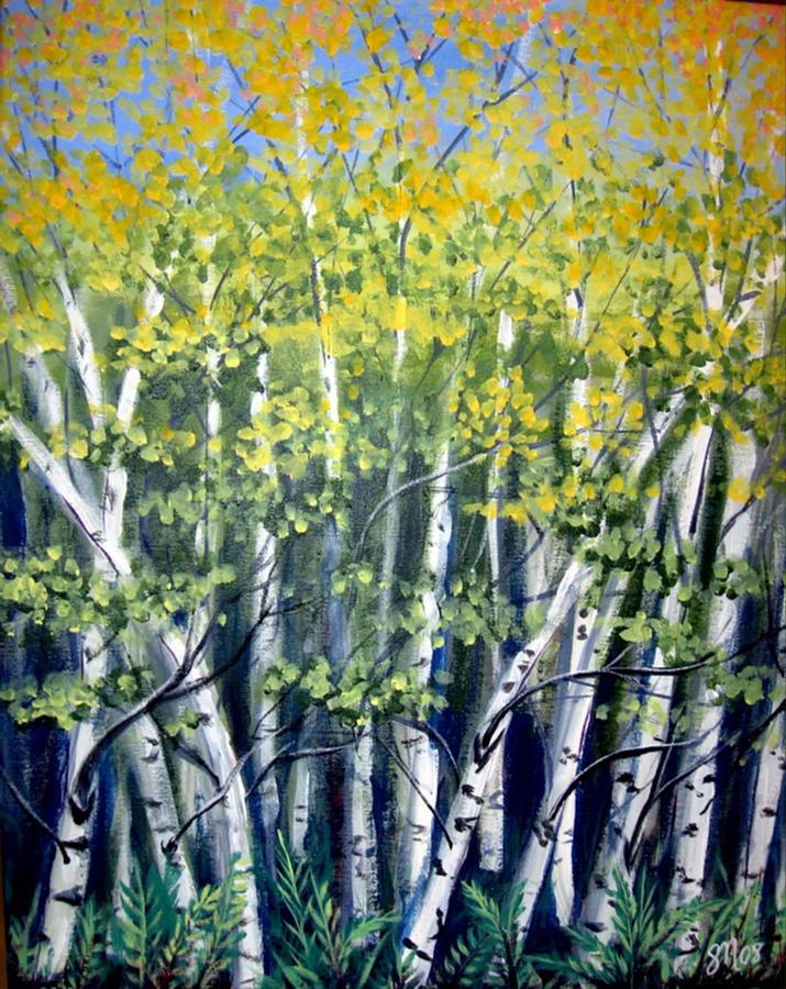 Birches Painting - Birches by Sharon Marcella Marston