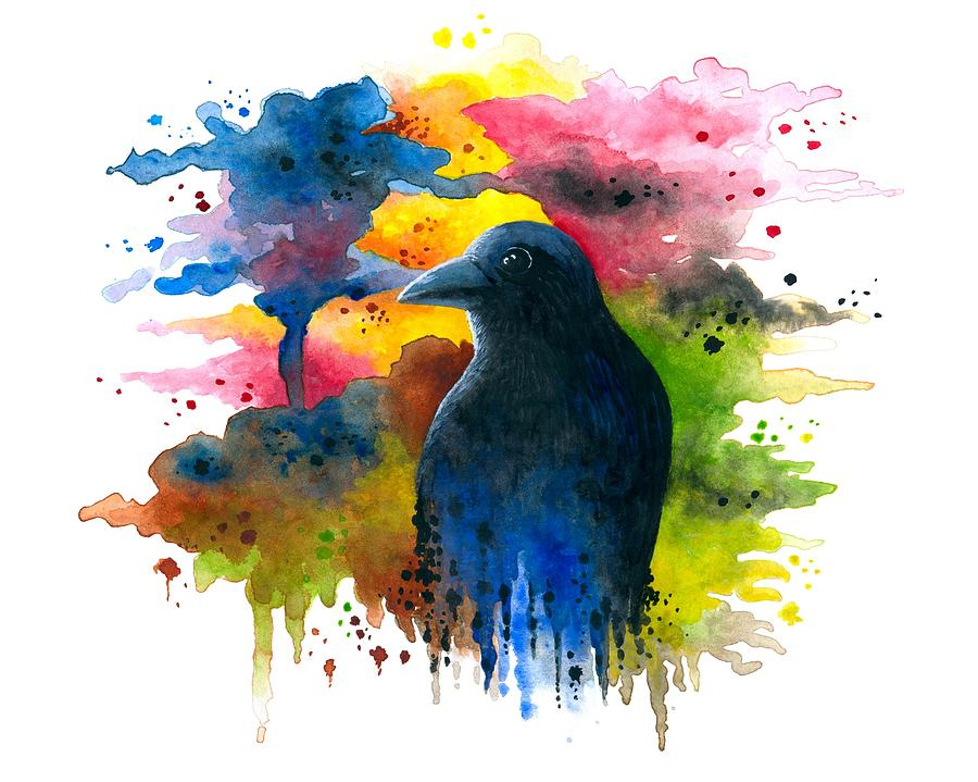 Bird Painting - Bird 71 Crow Raven by Lucie Dumas