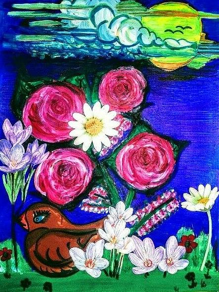 Bird Painting - Bird amongst flowers, roses and blue sky. by Lynette Fekete