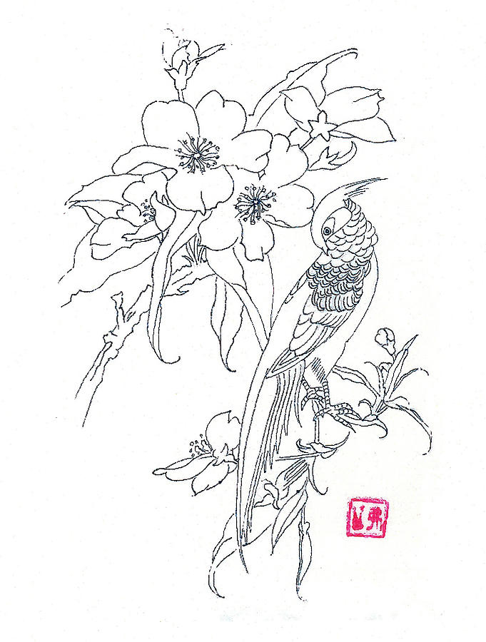 Bird And Flowers Drawing By Michael Vigliotti