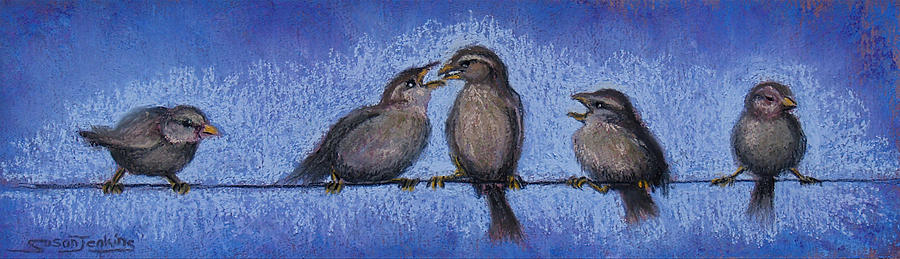 Bird Pastel - Bird Babies On A Wire by Susan Jenkins