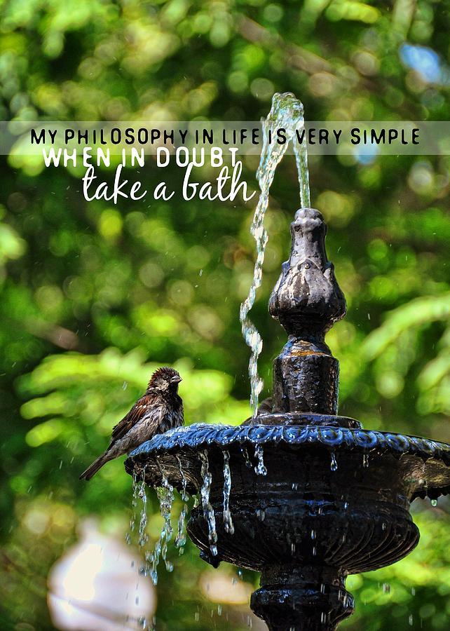 Bird Photograph - Bird Bath Quote by JAMART Photography