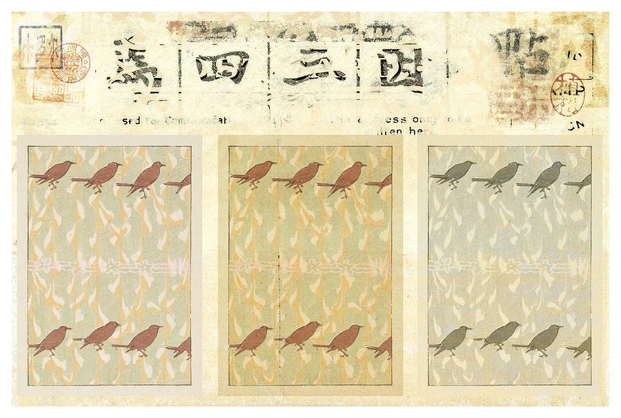 Postcard Mixed Media - Bird Design by Carol Leigh