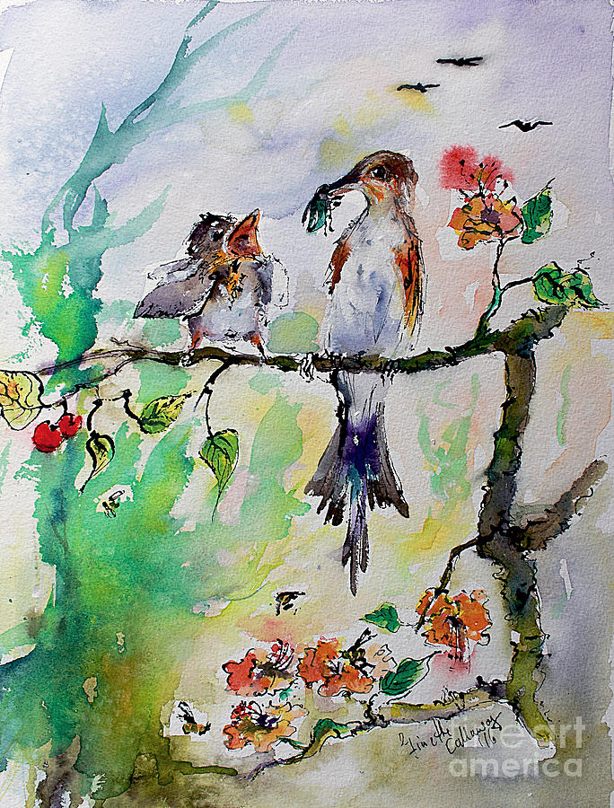 Bird Feeding Baby Watercolor Painting by Ginette Callaway