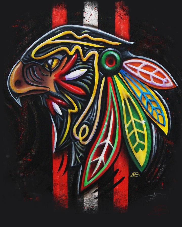 Chicago Blackhawks Painting - Bird Head by Michael Figueroa