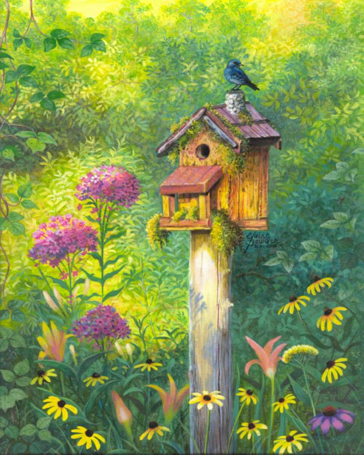 Birdhouse Garden: Bird House And Bluebird Painting By Elaine Bawden