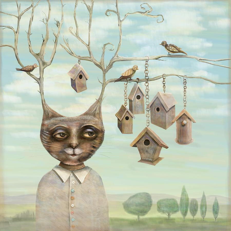 Cat Digital Art - Bird Houses by Catherine Swenson