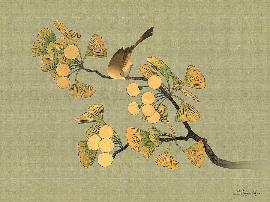 Bird In Ginkgo Tree Digital Art by IM Spadecaller