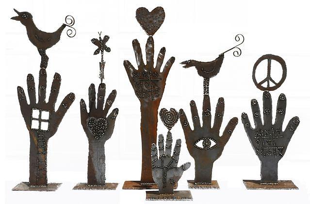 Bird In Hand Sculpture by Julie Kessler