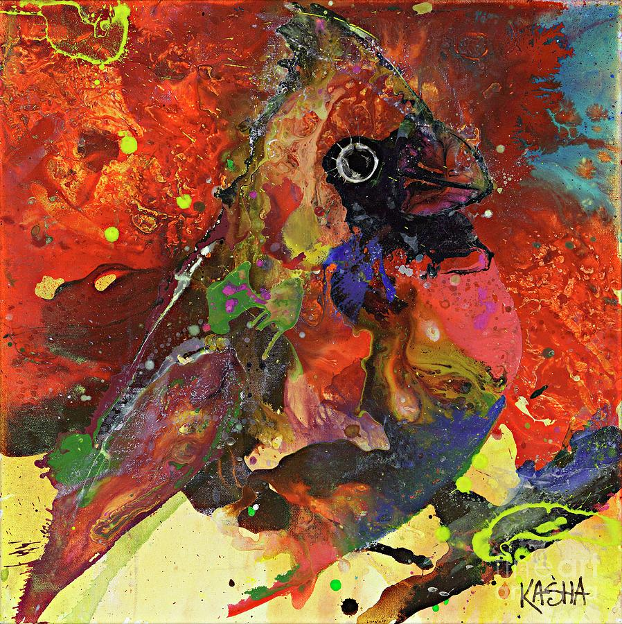 Red Cardinal Painting - Bird Is The Word by Kasha Ritter