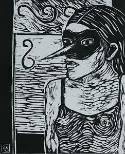 Bird Mask Mixed Media by Angielena Chamberlain