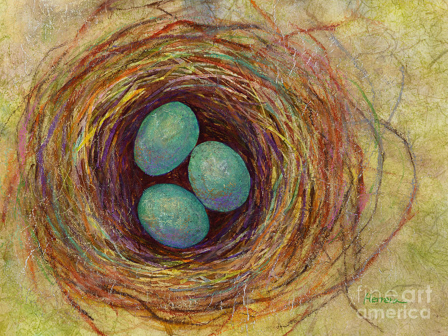 Eggs Painting - Bird Nest by Hailey E Herrera