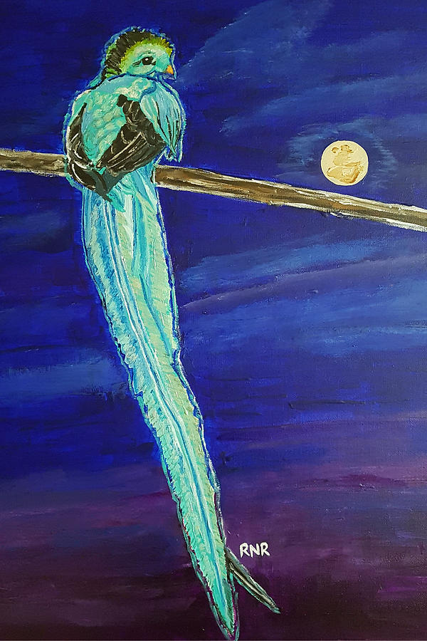 Bird Painting - Bird of Beauty, Moon Blue by Rachel Natalie Rawlins