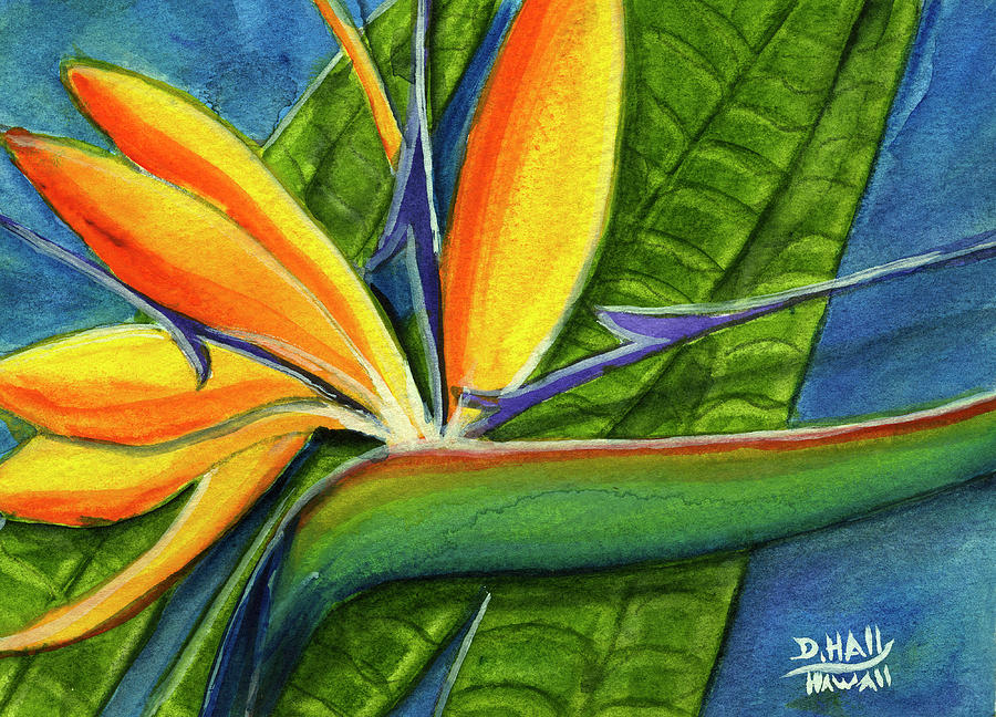 Bird Of Paradise Painting - Bird Of Paradise #300b by Donald k Hall