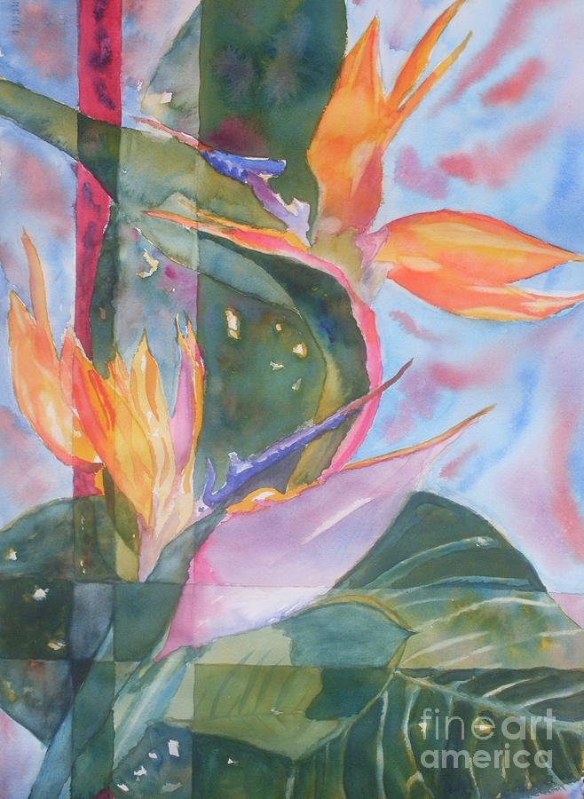 Bird Of Paradise Painting - Bird Of Paradise Abstract by Warren Thompson