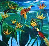 Bird Of Paradise Flowers Painting - Bird Of Paradise by Dinesh VRamalingam