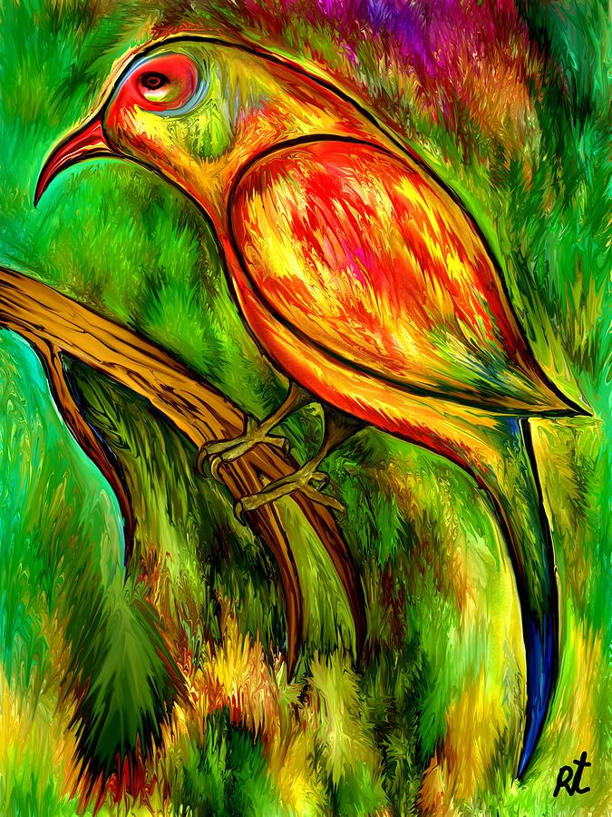 Bird Painting - Bird On A Branch by Rafi Talby