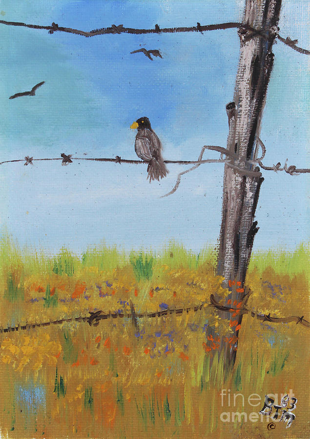 Bird On A Wire Painting by Betty McGregor