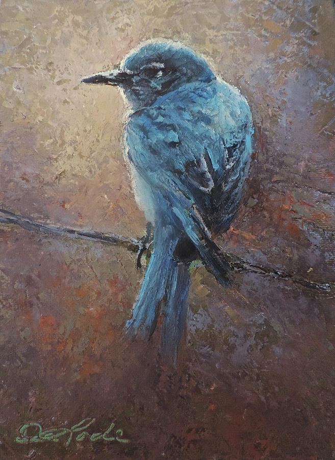 Bluebirds Painting - Bird on a Wire by Mia DeLode