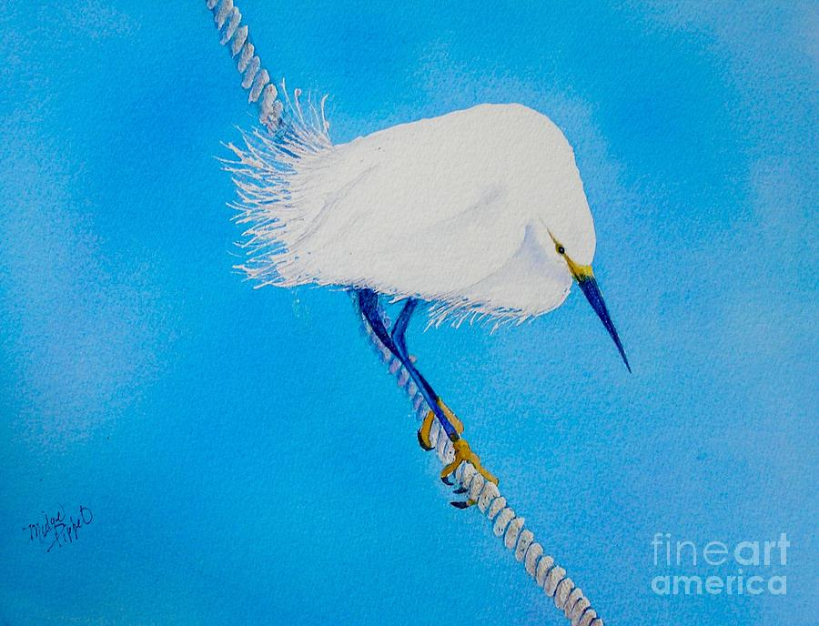 Blue Painting - Bird On A Wire by Midge Pippel