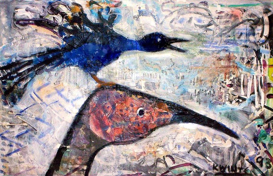 Birds Mixed Media - Bird On Bird by Dave Kwinter