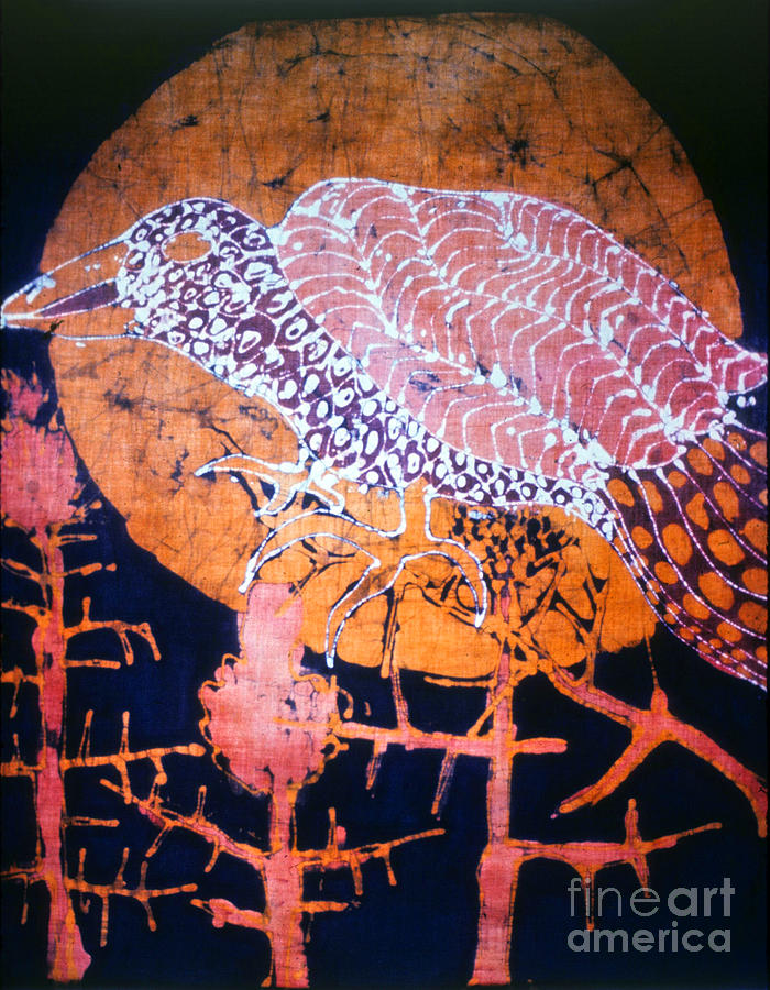 Sunset Tapestry - Textile - Bird On Thistle At Sundown by Carol Law Conklin