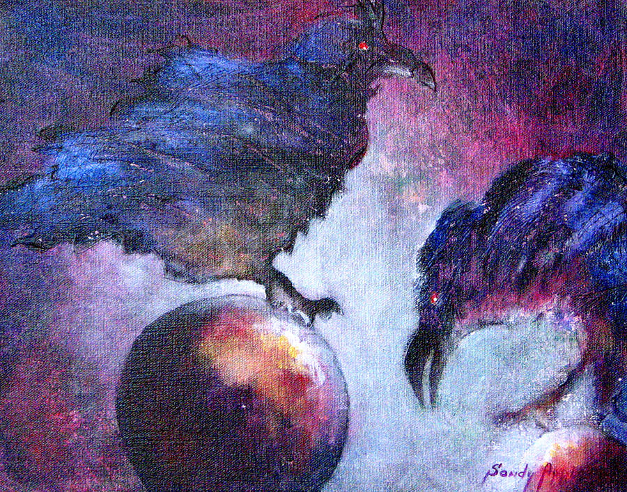 Raven Painting - Bird Or Fiend by Sandy Applegate