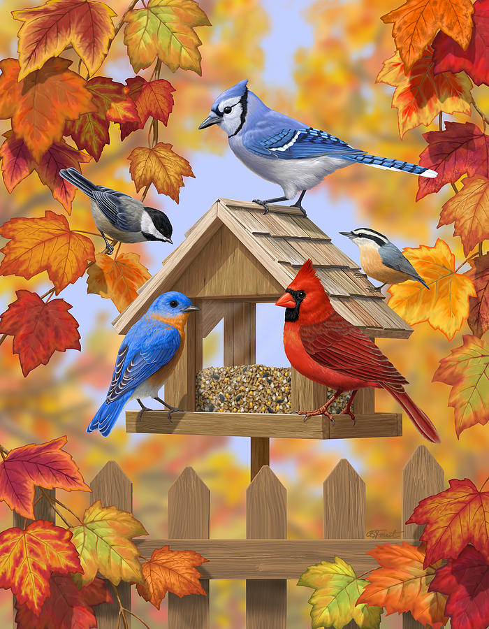 Bluebird Artwork bird and Fall Foilage Eastern Bluebird ... |Fall Bird Paintings