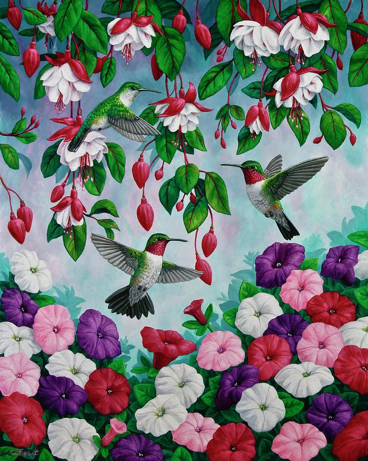 Bird Painting - Bird Painting - Hummingbird Heaven by Crista Forest