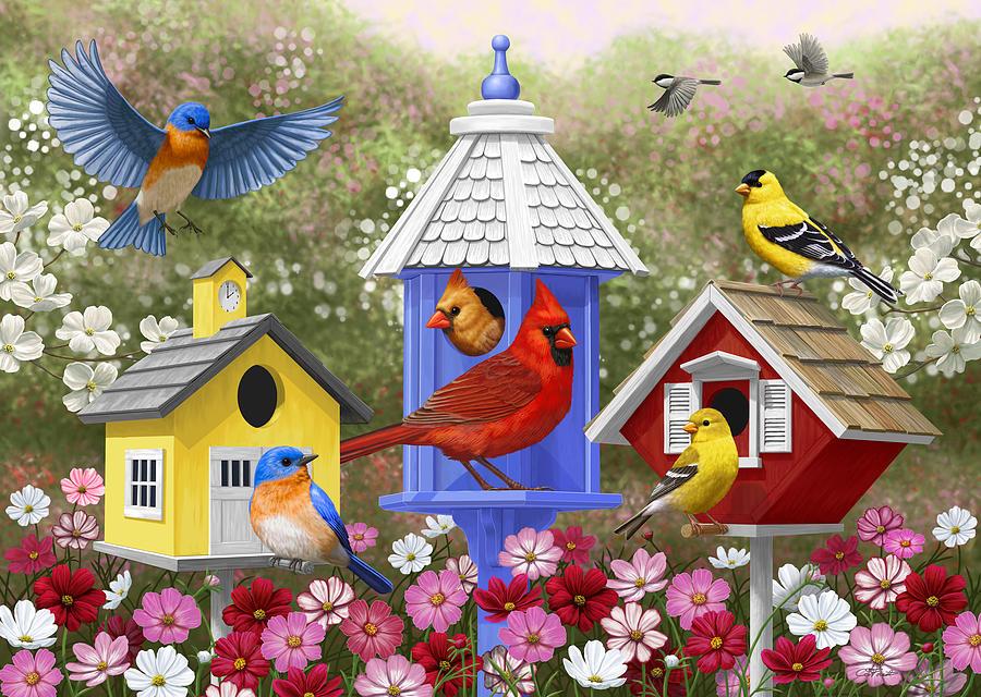 Return theme vintage bird house paintings theme