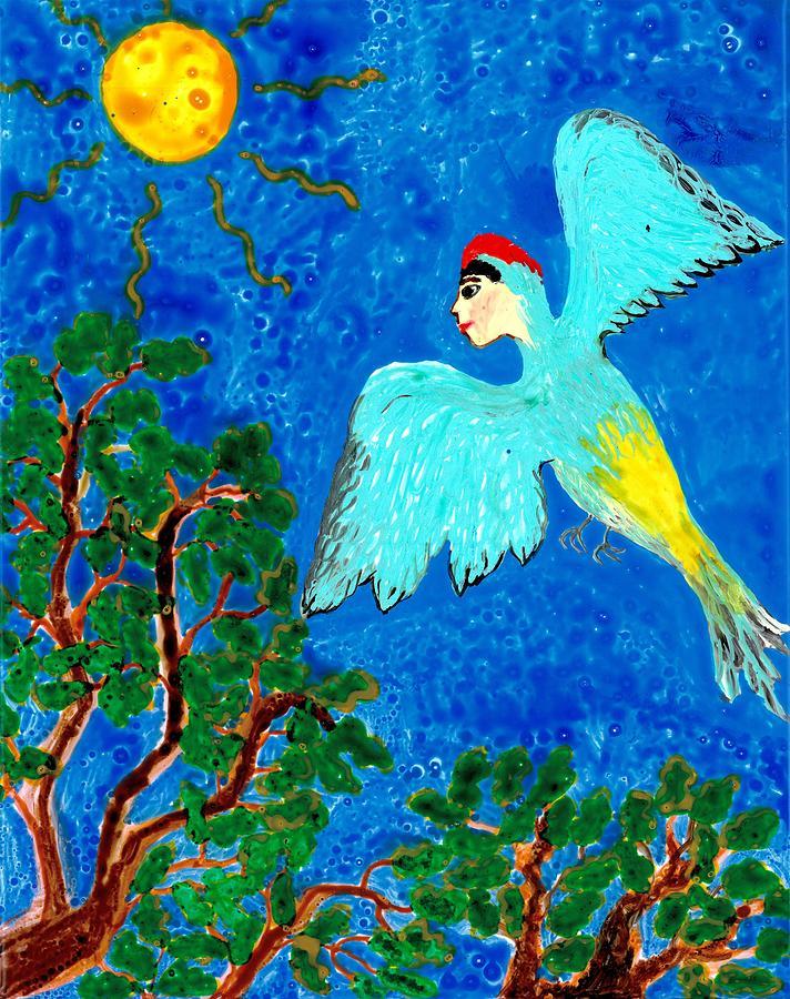 Bird People Painting - Bird People Green Woodpecker by Sushila Burgess