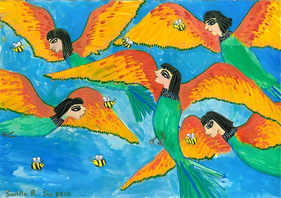 Sue Burgess Painting - Bird People Little Green Bee Eaters Of Upper Egypt by Sushila Burgess