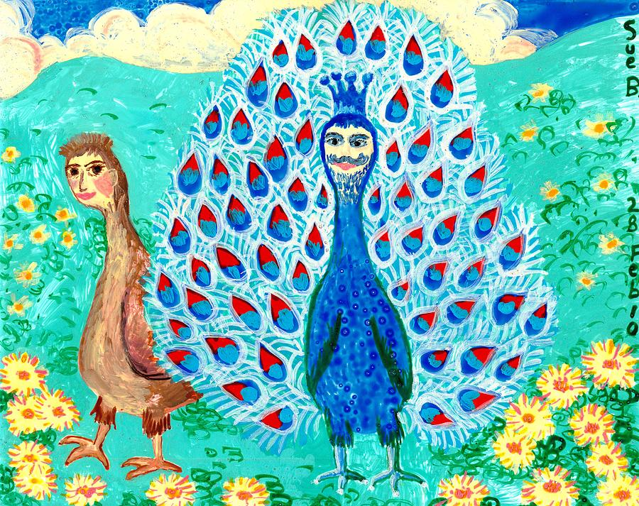 Sue Burgess Painting - Bird People Peacock King And Peahen by Sushila Burgess