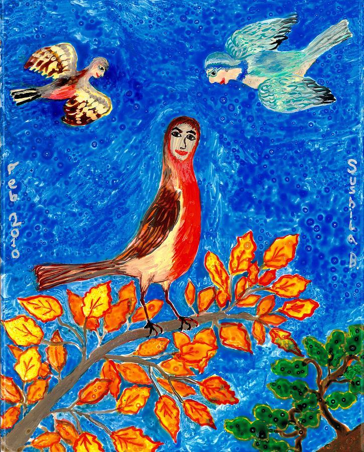 Sue Burgess Painting - Bird People Robin by Sushila Burgess