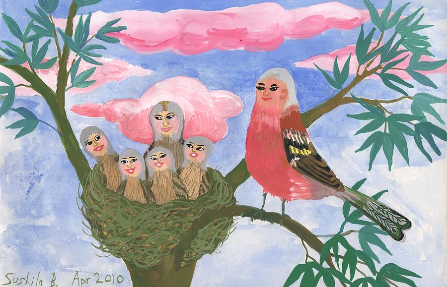 Bird People Painting - Bird People The Chaffinch Family by Sushila Burgess