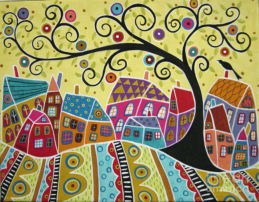 Landscape Painting - Bird Ten Houses And A Swirl Tree by Karla Gerard