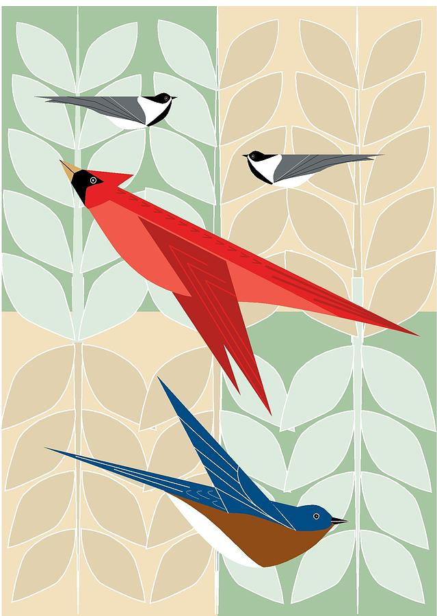 Bird tree Squares by Marie Sansone