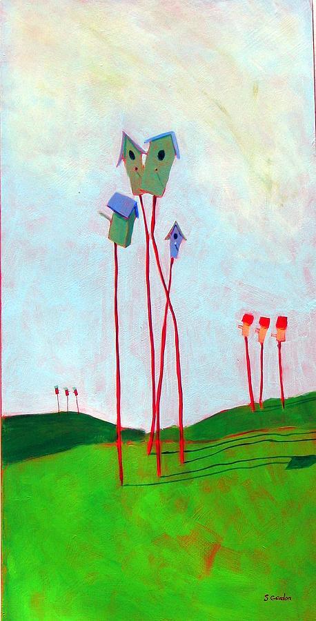 Birdhouse Painting - Bird Watchers by Scott Gordon