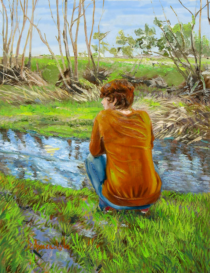 Impressionism Painting - Bird Watching By The Creek by Dominique Amendola