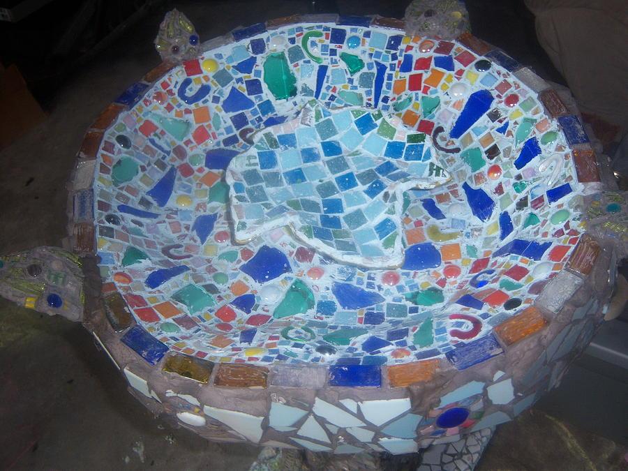 Glass Sculpture - Birdbath Bowl by Elizabeth Okon