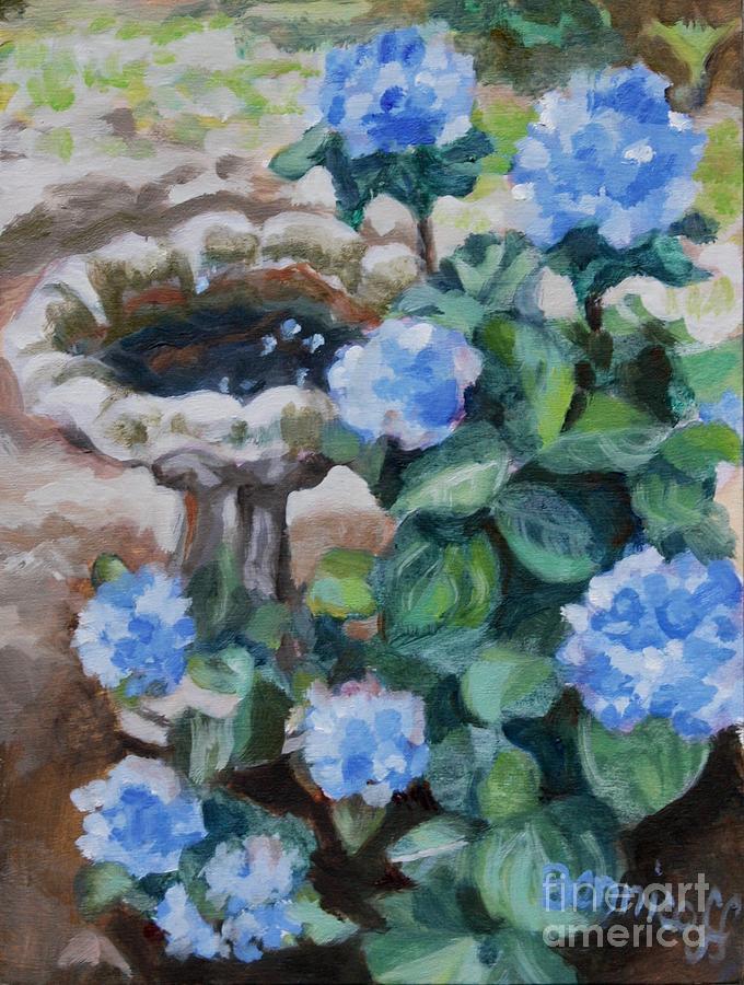 Birdbath Hydrangeas by Jan Bennicoff
